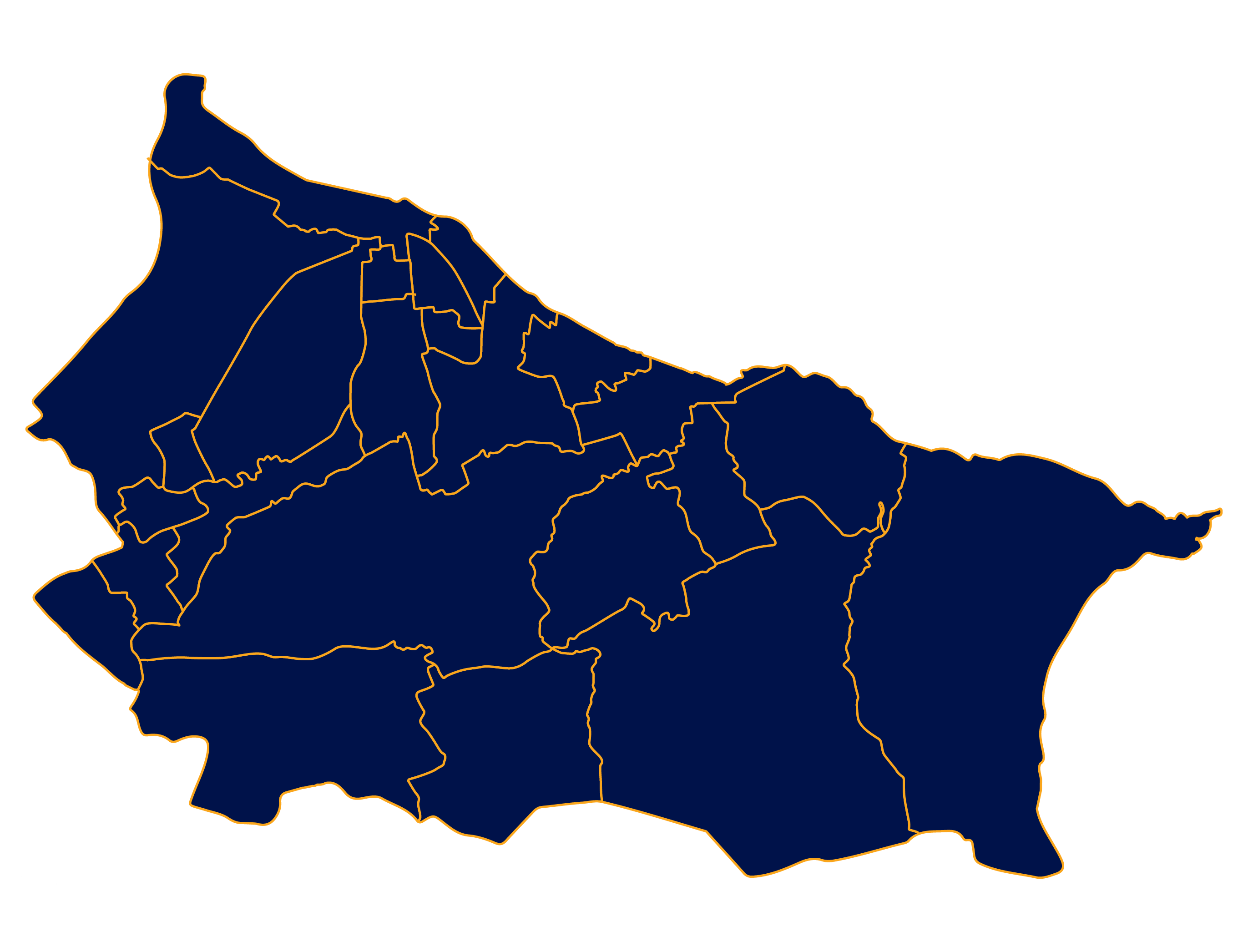 Area map of the Redcar and Cleveland District